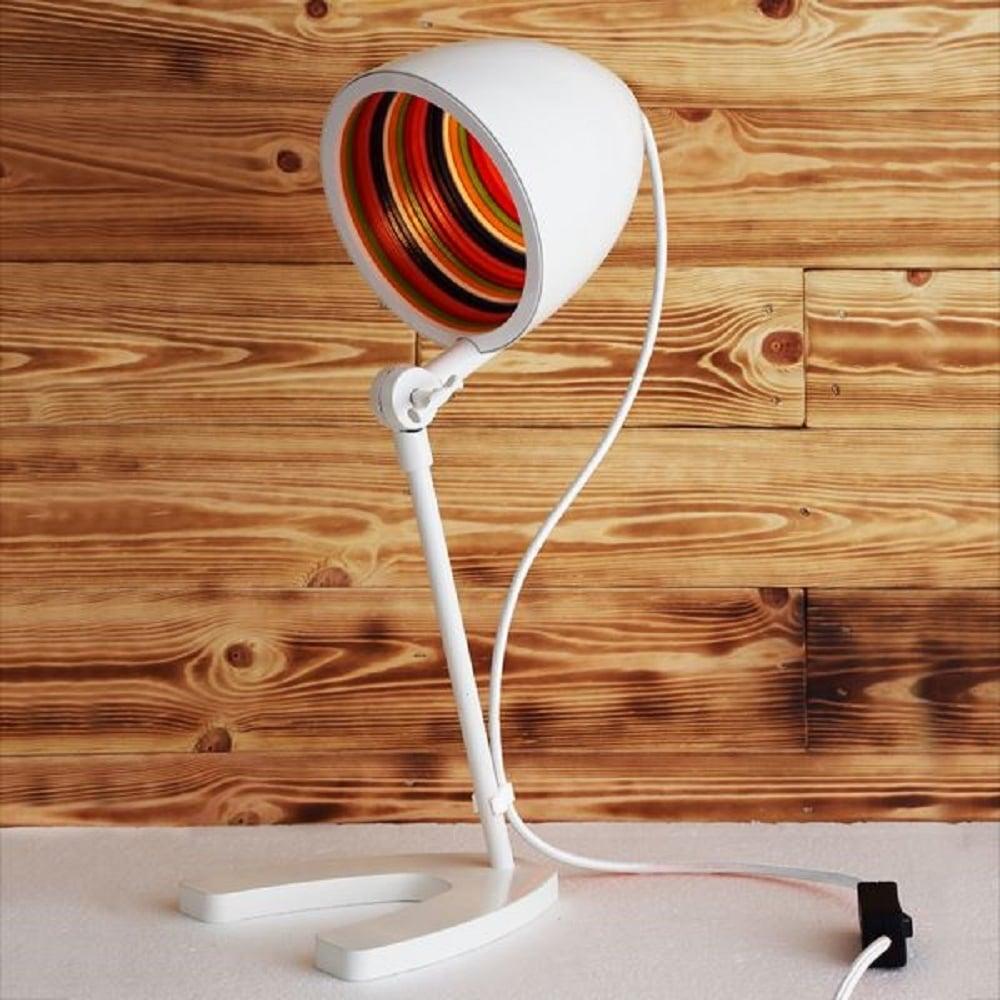 Joyful 1960 S Inspired Desk Light White With Psychedelic Inner Shade
