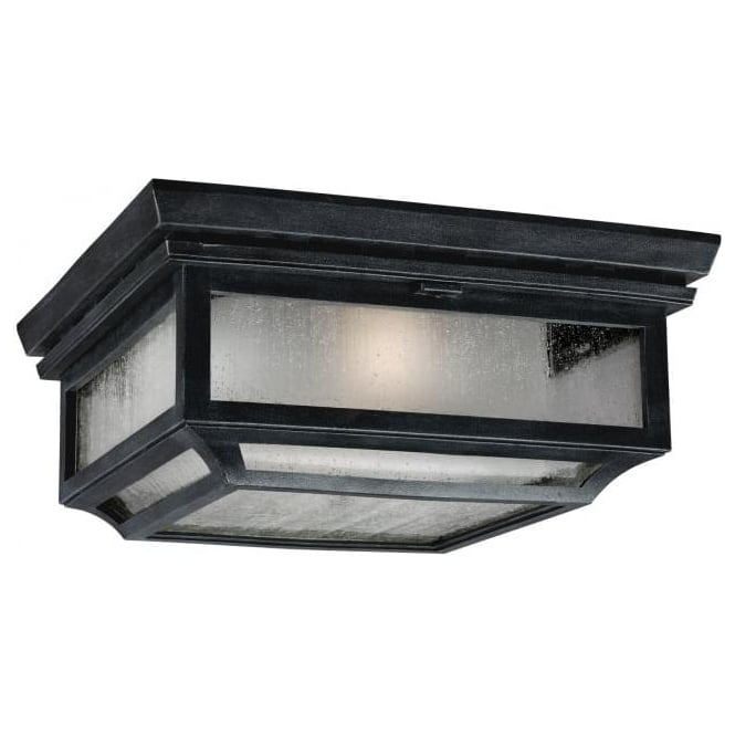 Ip44 Flush Outdoor Ceiling Light With Leaded Glass Appearance