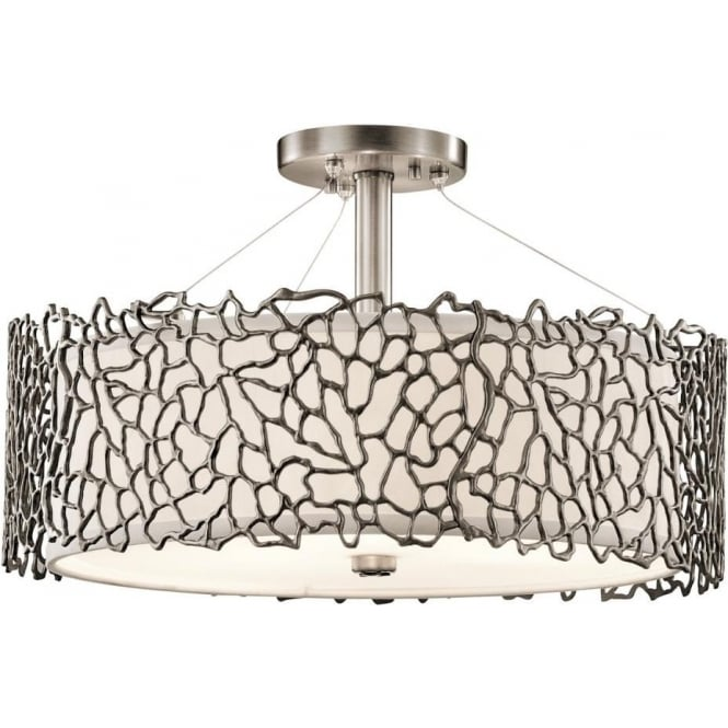 Dual Mount Ceiling Light For High Or Low Ceilings In Pewter Silver Coral