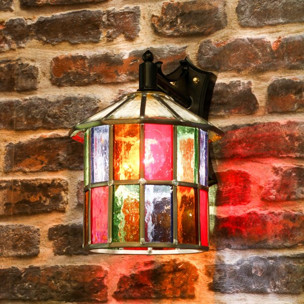 Outdoor Wall Light Stained Glass : Multi Coloured Stained Glass Outdoor Wall Lantern, IP23