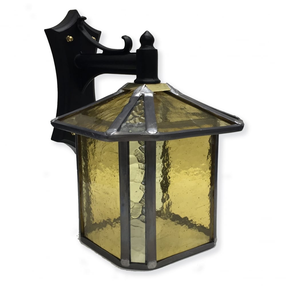 Outdoor Wall Light Stained Glass : Decorative Gold Stained Glass Outdoor Wall Lantern - IP23 Rated