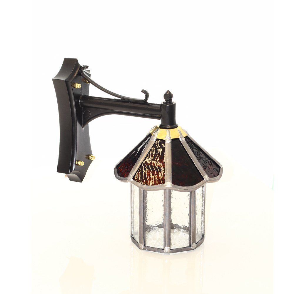 Outdoor Wall Light Stained Glass : Traditional Glass Outdoor Wall Lantern - IP23 Rated