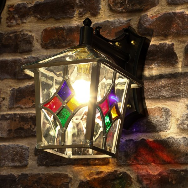 Outdoor Wall Light Stained Glass : Decorative Traditional Outdoor Wall Lantern with Stain Glass Shade