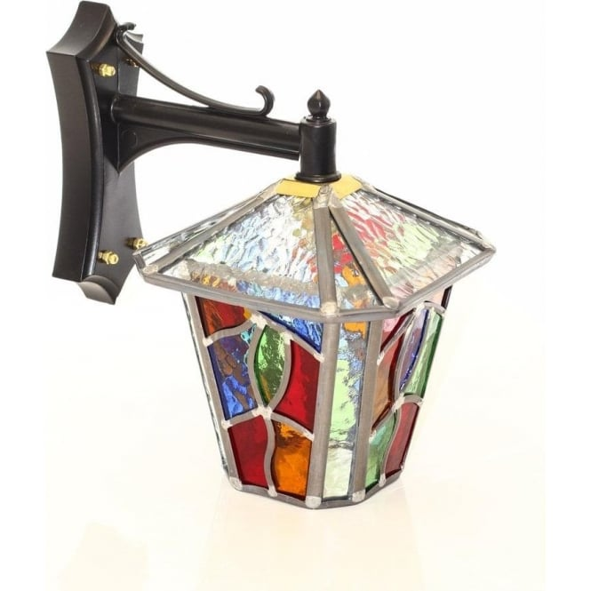 Outdoor Wall Light Stained Glass : Decorative Multi Coloured Stain Glass Outdoor Wall Lantern