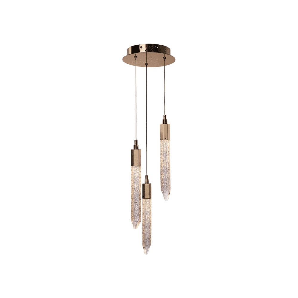 Modern 3 Light Gold Cluster Pendant With Ice Shard Crystal Shades