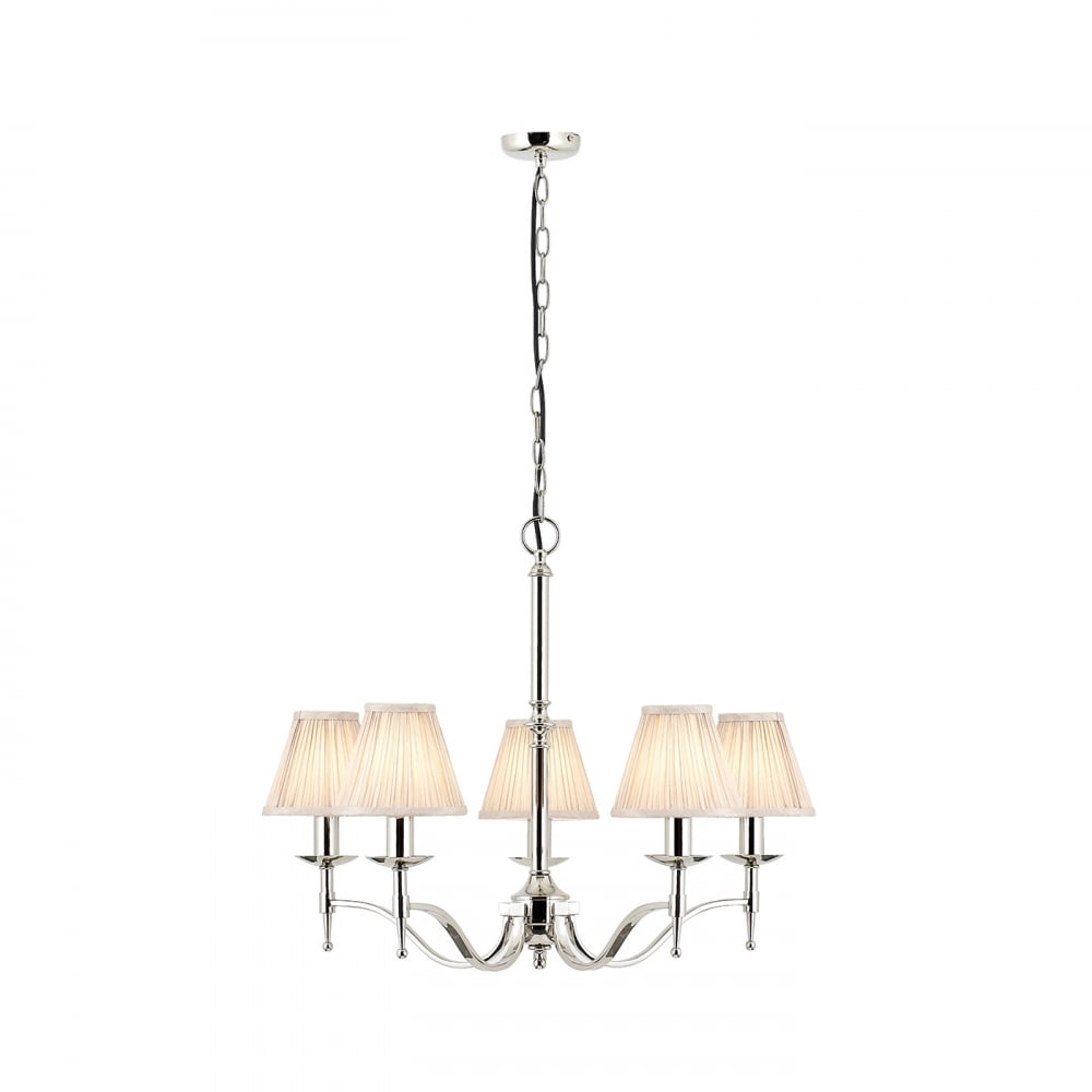 Classic 5 Light Nickel Chandelier With Beige Faux Silk Pleated Shades