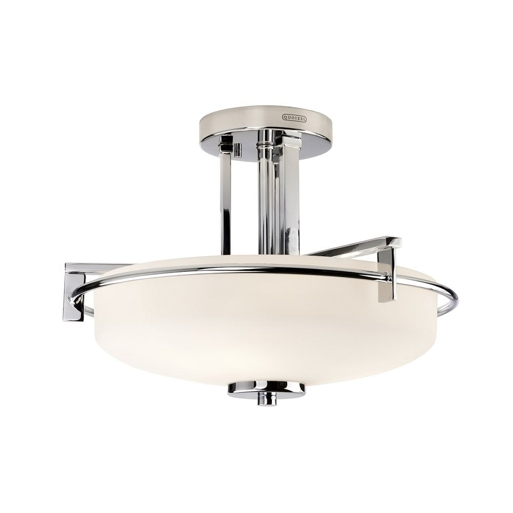 Deco Style Bathroom Ceiling Light Chrome Fitting With Opal Glass Shade