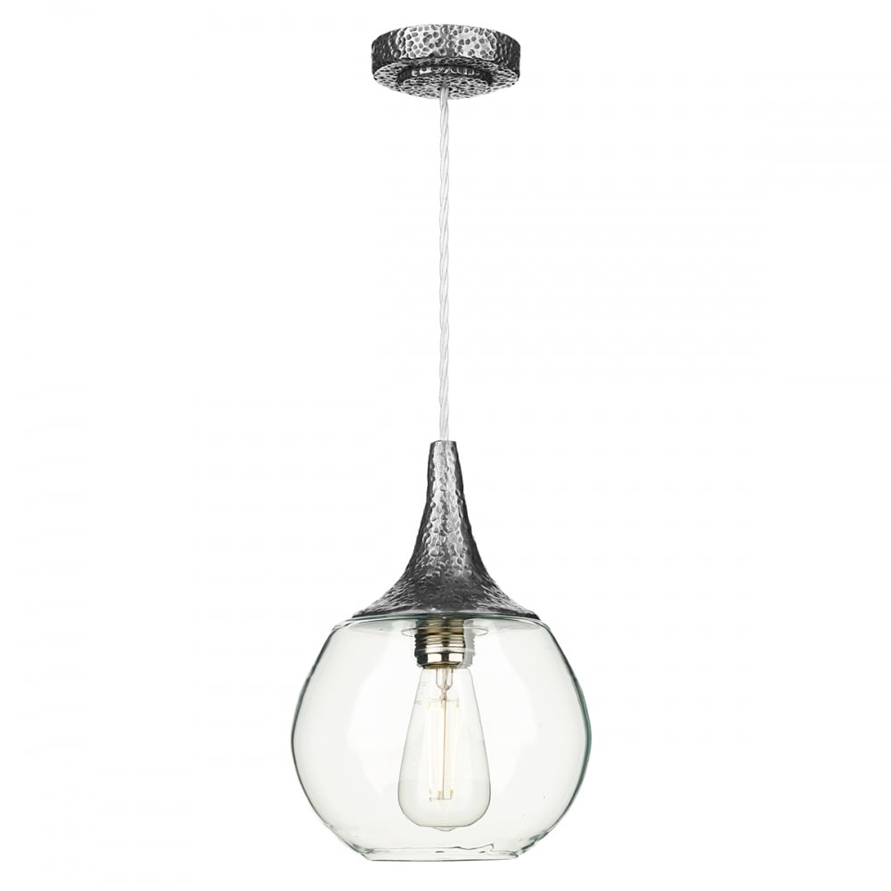 Teardrop Clear Glass Ceiling Pendant Light On Pewter Suspension