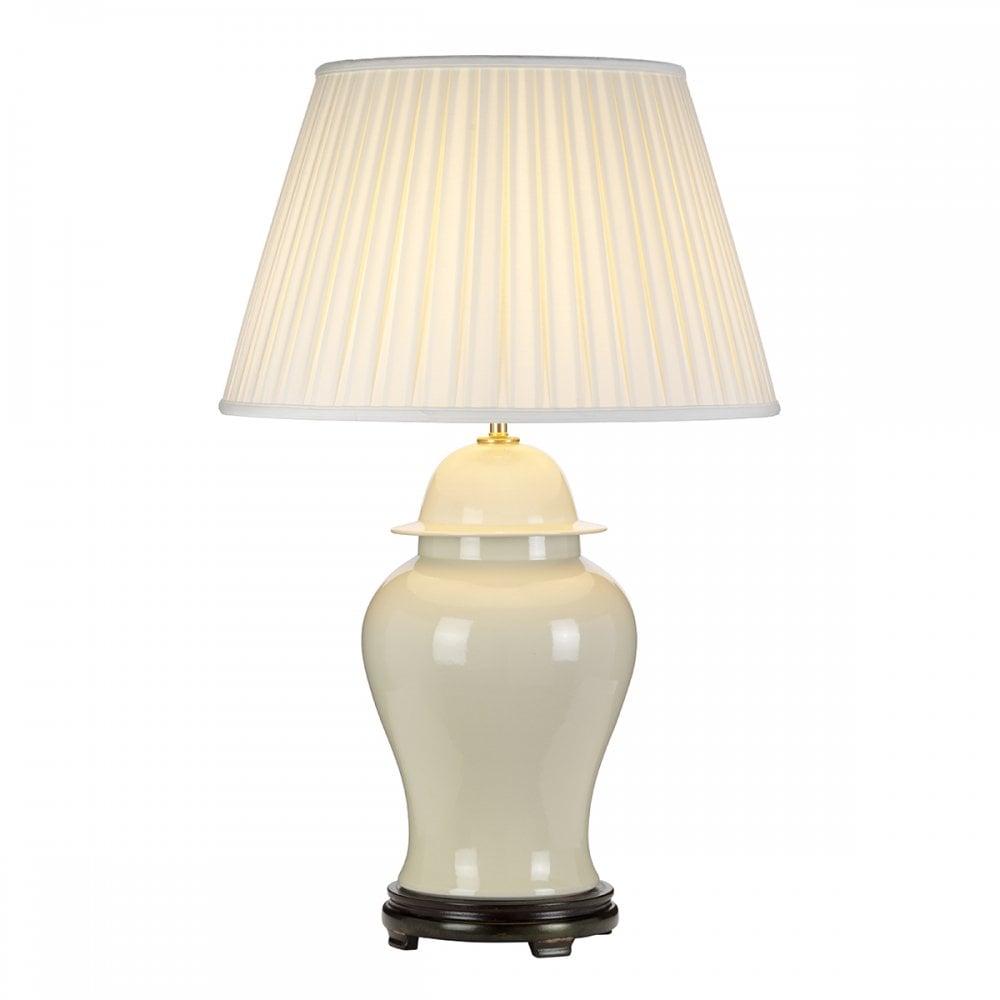 Vintage Cream Ceramic  Ginger Jar Lamp