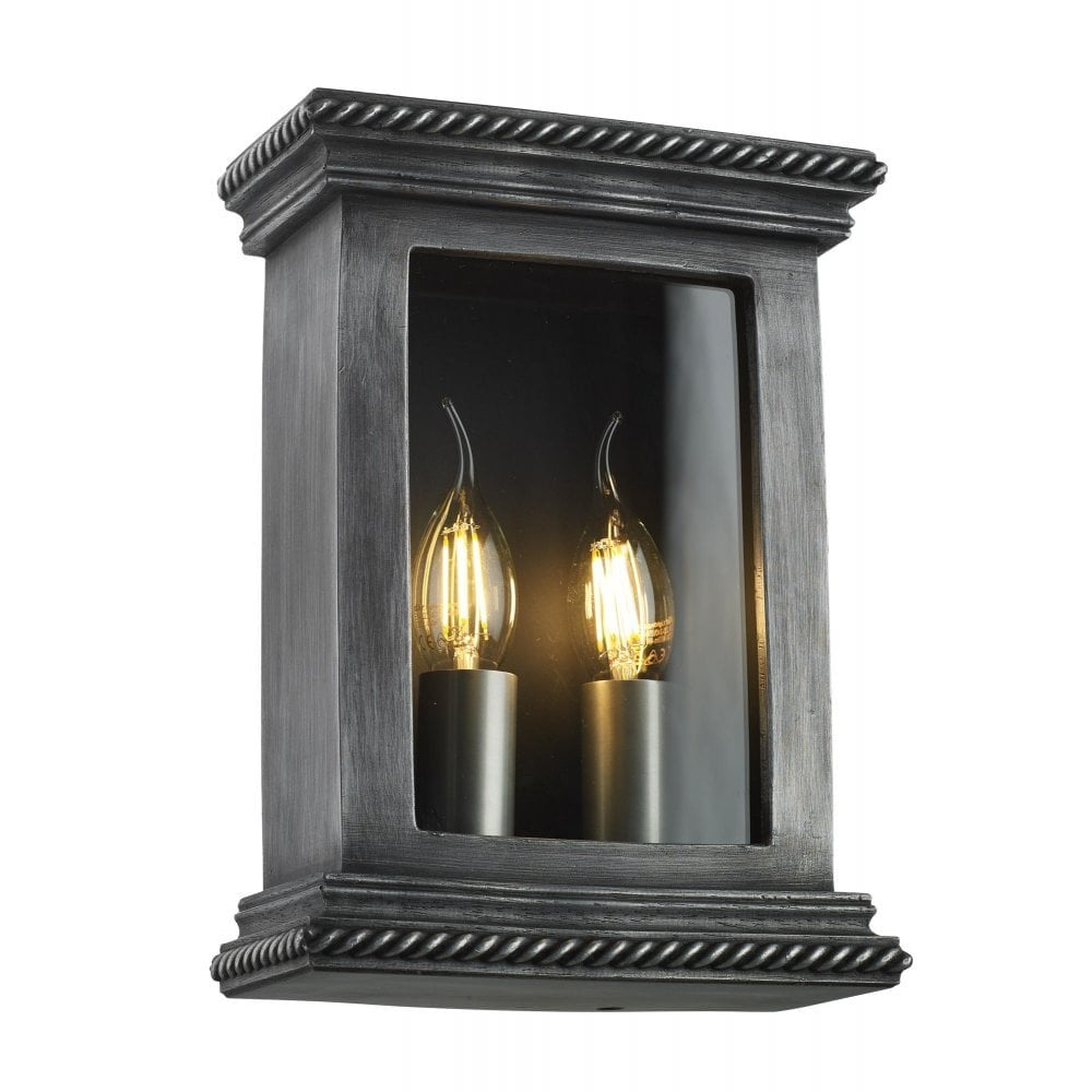 Traditional Victorian Box Shape Exterior Wall Light In Pewter Finish
