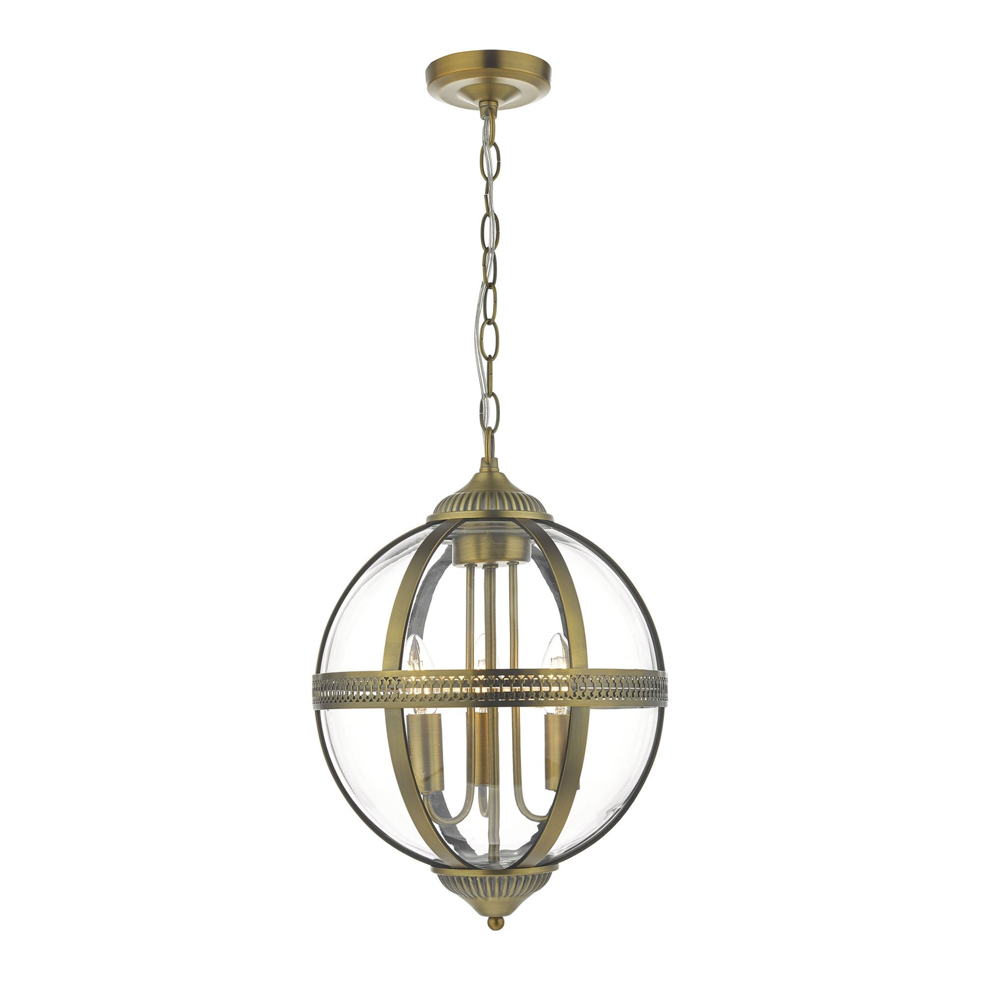 Victorian Style Clear Glass Globe Ceiling Pendant With Decorative Bands
