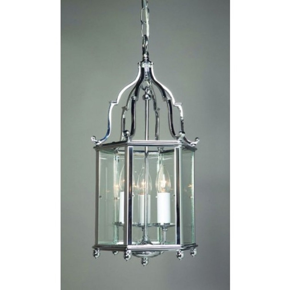 Elegant Georgian Ceiling Lantern In Solid Brass With A Chrome Finish