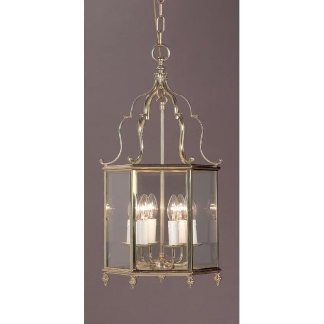 Hanging Indoor Hall Ceiling Lantern in Solid Polished Gold Brass