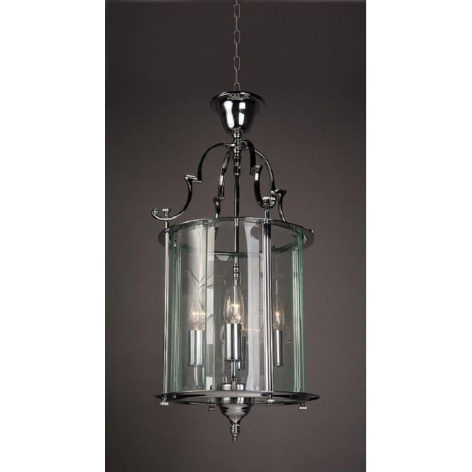 Wellington Collection COLCHESTER traditional chrome and glass hanging ceiling lantern