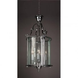 COLCHESTER traditional chrome and glass hanging ceiling lantern