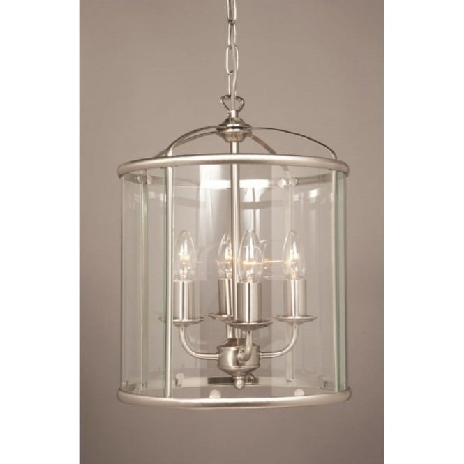 Traditional Entrance Hall Lantern In Satin Nickel With 4