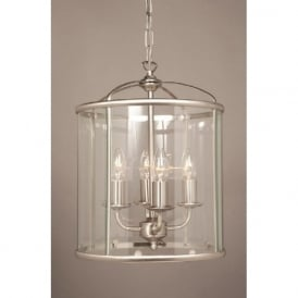 ORLY circular glass hall lantern with nickel frame