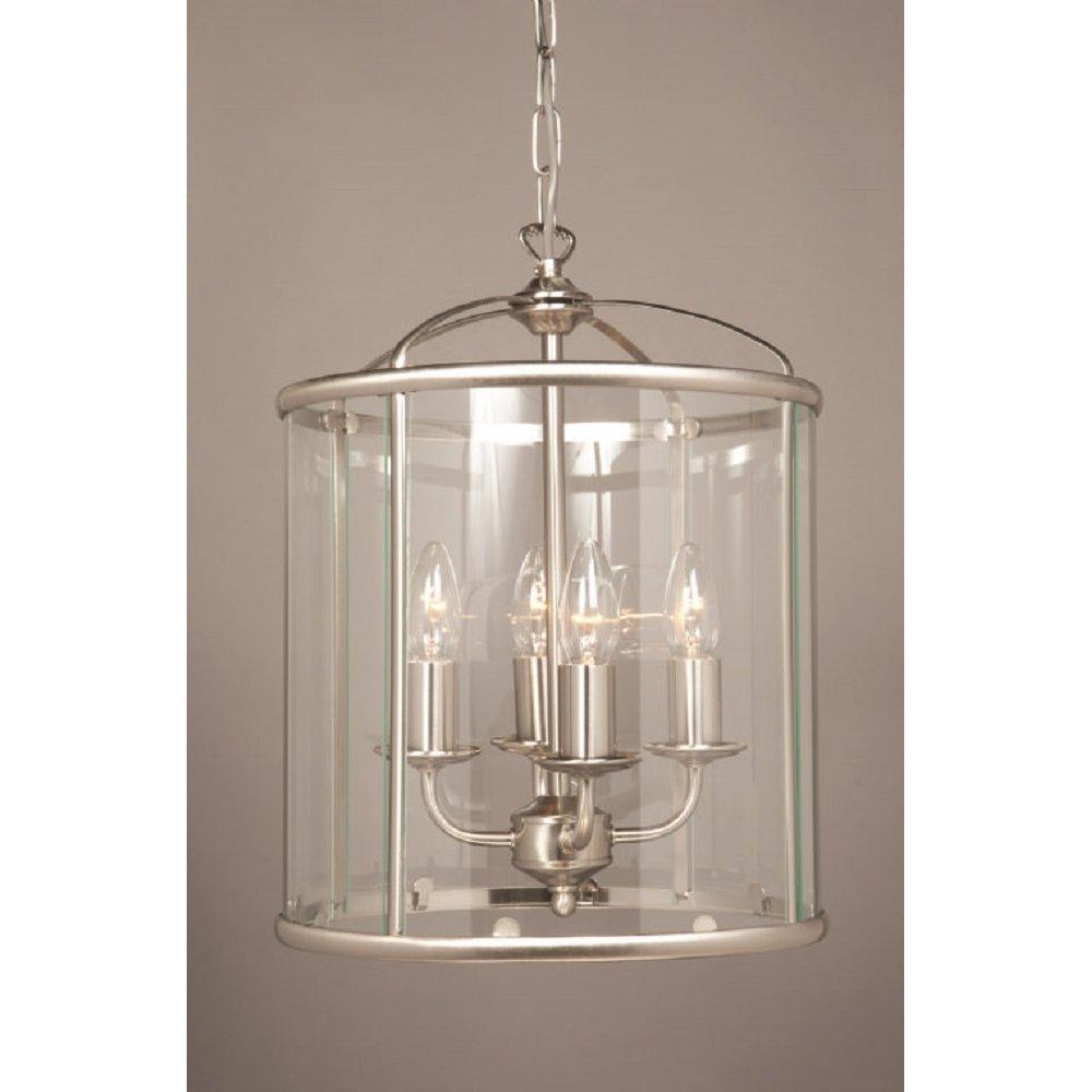 Simplistic Victorian Entrance Pillar Light: Traditional Entrance Hall Lantern In Satin Nickel With 4