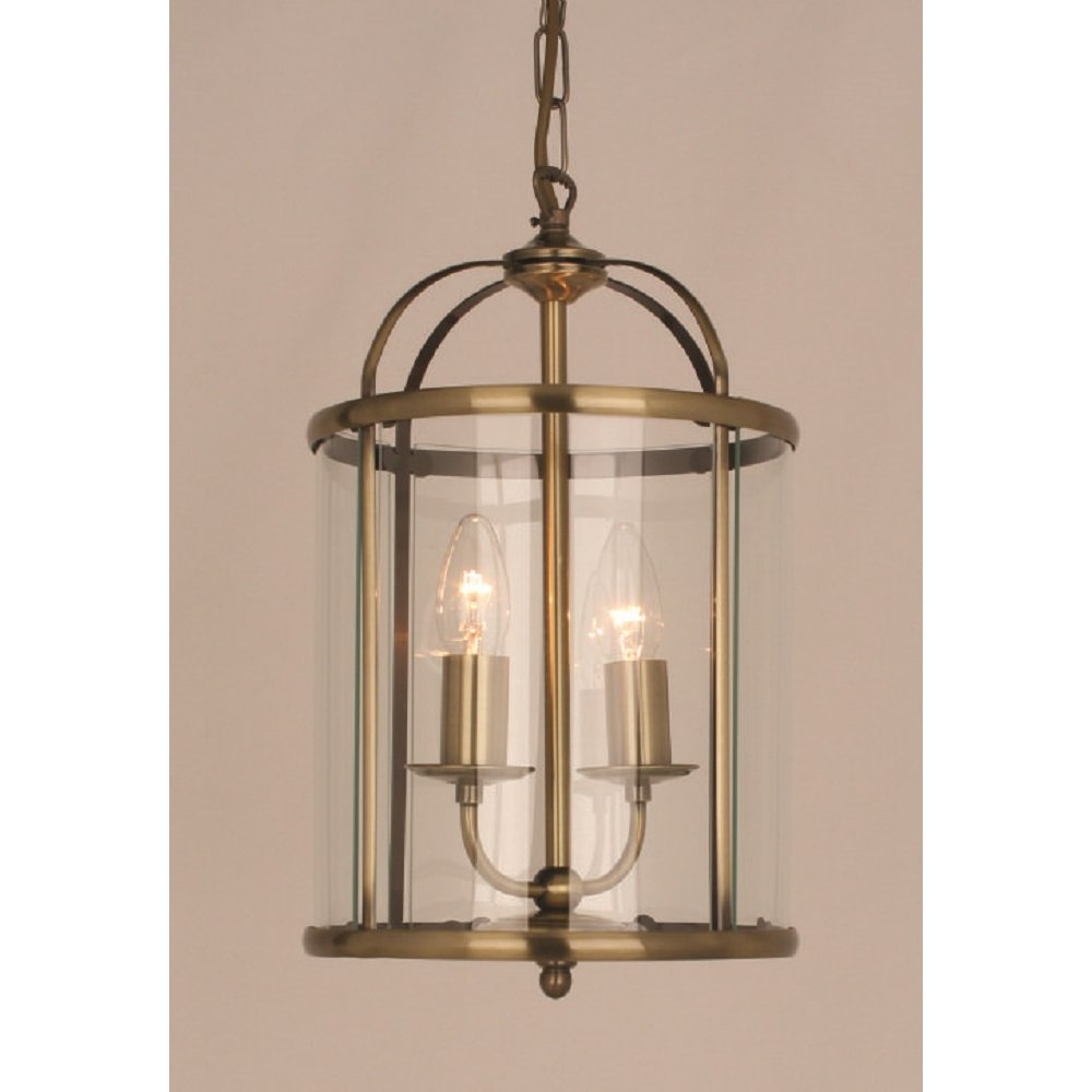 Entrance The Top And Lanterns: Small Traditional Hall Lantern In Antique Brass With 2