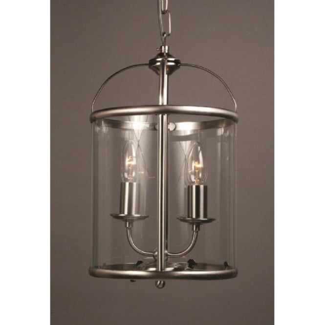 Wellington Collection ORLY small hall lantern, satin nickel frame