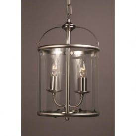 ORLY small hall lantern, satin nickel frame