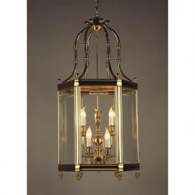 REGAL large cast brass hall lantern in gold finish