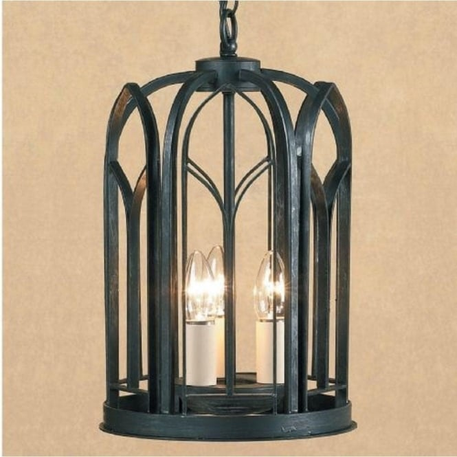 Black Gothic Wrought Iron Hall Lantern With 3 Candle Style