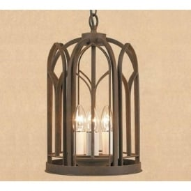 VILLA large wrought iron hanging lantern in aged rust finish