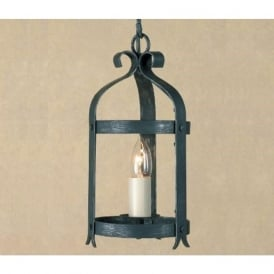 VILLA small black wrought iron hall lantern