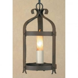 VILLA small Medieval style wrought iron hanging lantern